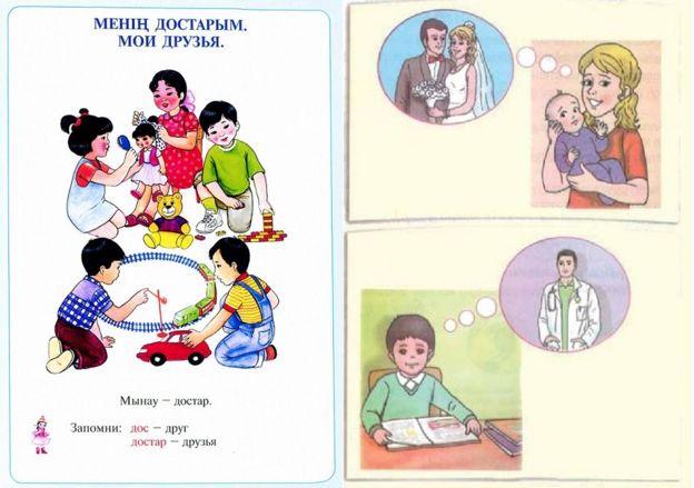 Estereotipos de género en textos escolares de Kazajistán (izq.) y Turquía.