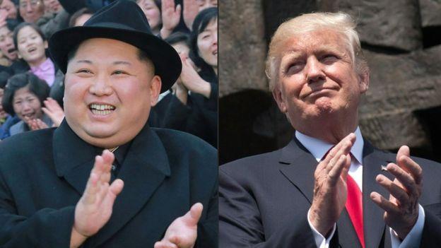 Kim Jong-un ve Trump (kolaj)