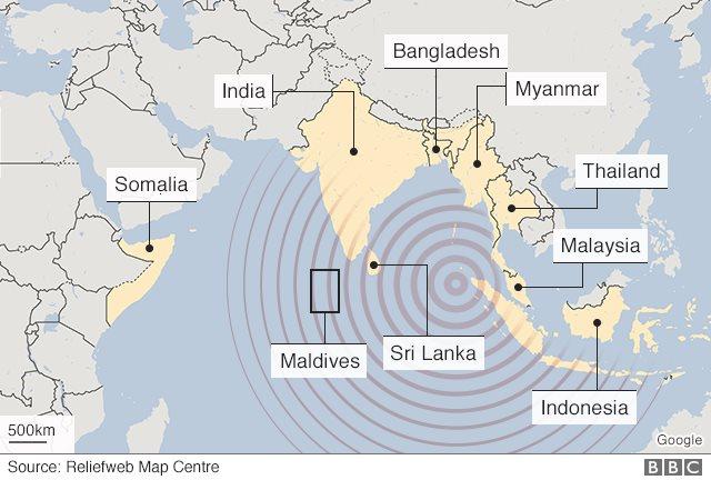 Map of 2004 tsunami