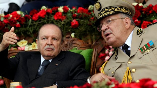 Ahmed Gaid Salah, the army chief of staff, (R) with Abdelaziz Bouteflika (L) - 27 June 2012