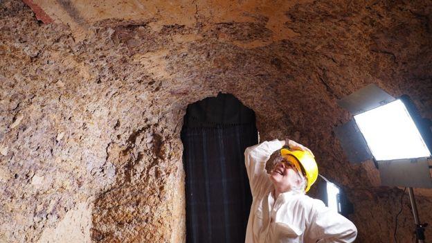 Janice Yellin inside an ancient Nubian pyramid