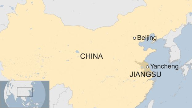 Map showing Yancheng in Jiangsu in China