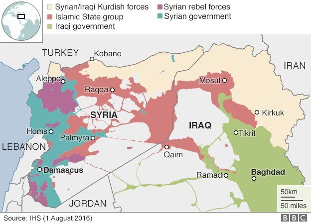 Syrian conflict russian bombers use iran base for air strikes bbc map of syria and iraq showing control by state and non state armed groups gumiabroncs