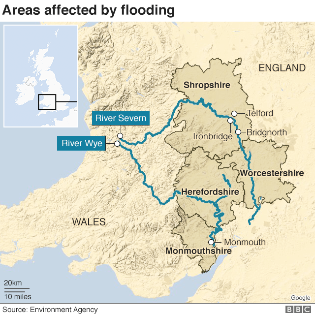 Map of flooding 19 February 2020