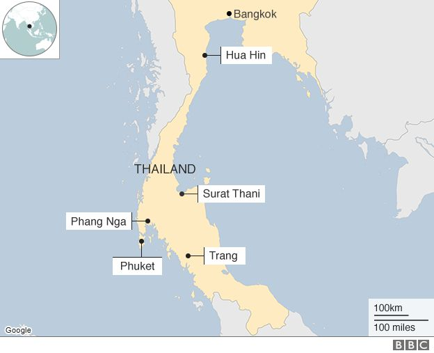 Map showing the locations of the blasts in Thailand on 11 and 12 June