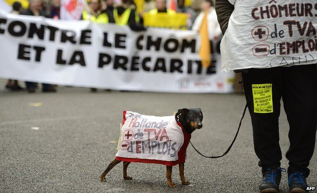 """A dog wearing a coat reading """"With Hollande, more VAT, fewer jobs"""" takes part in a demonstration against unemployment on 7 December 2013 in Paris."""