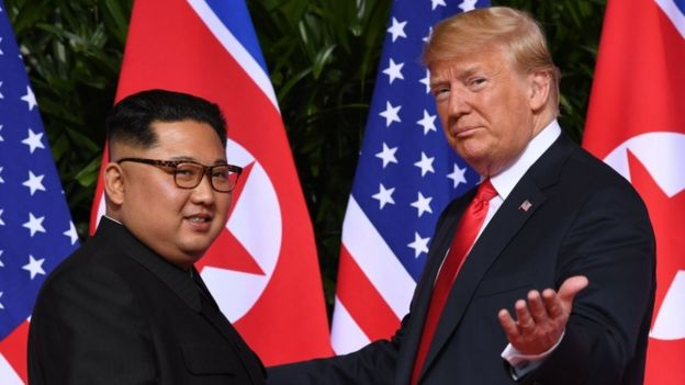 Kim Jong-un and Donald Trump in Singapore (12 June 2018)