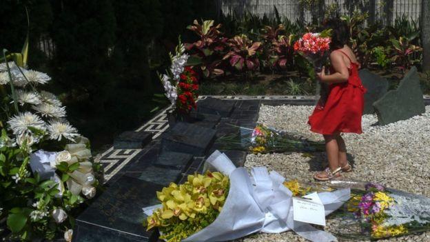 Flores en la tumba Pablo Escobar