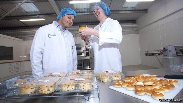 Staff at the Village Bakery in Wrexham