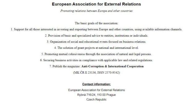 Thông tin duy nhất trên trang Hiệp hội Đối ngoại Châu Âu
