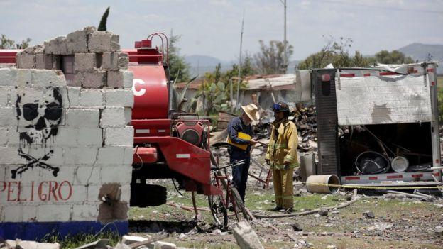 La zona dañada en Tultepec