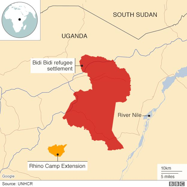 Two of the refugee camps in Uganda - Bidi Bidi and Rhino Camp Extension