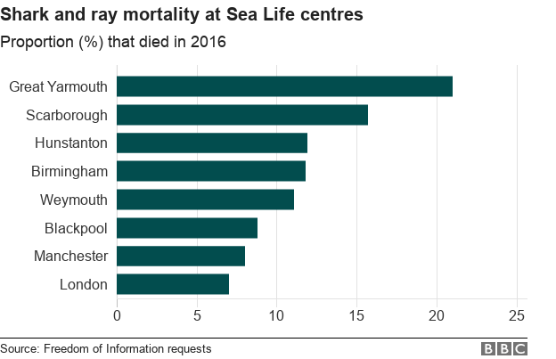 Chart showing shark and ray deaths at Sea Life centres in 2016