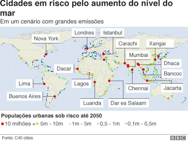 Gráfico mostra cidades em risco pelo aumento do nível dos oceanos