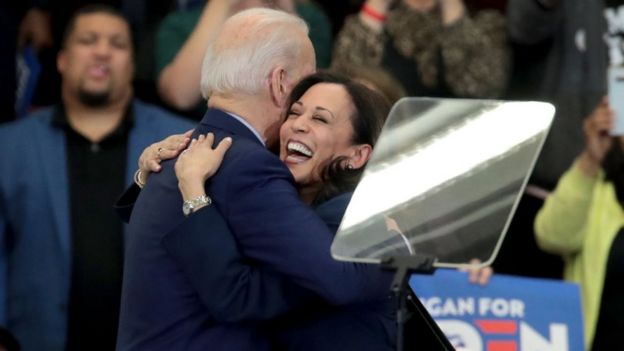 Kamala Harris and Joe Biden at a Biden campaign event