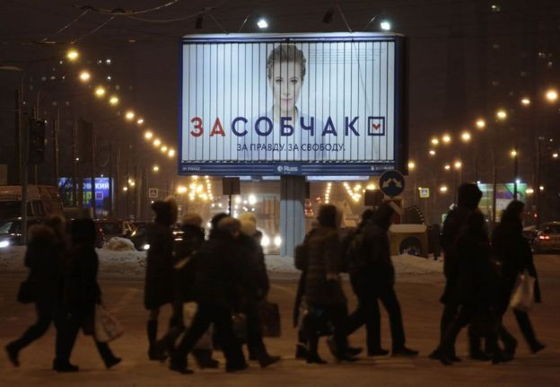 """An election billboard: """"For Sobchak. For truth. For freedom."""""""