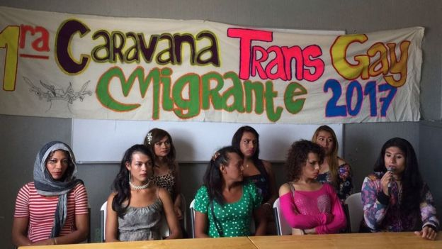 The trans caravan holding a press conference in Mexico
