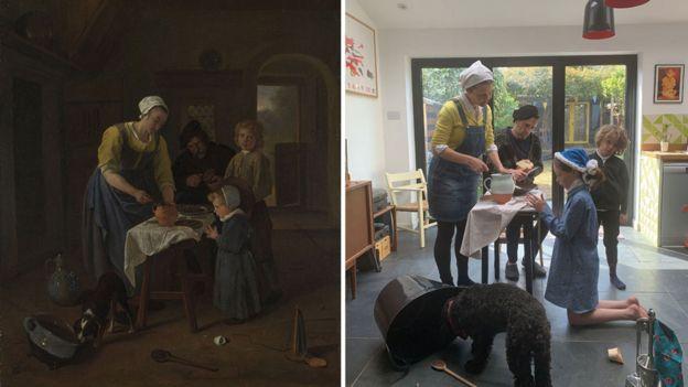 """""""Familia campesina a la hora de la comida"""" de Jan Steen (alrededor de 1655) recreada por Lawrence Chiles y su familia."""
