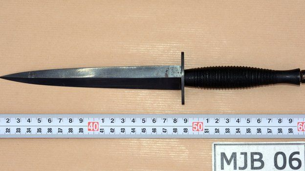West Yorkshire Police handout photo of a knife that was presented in evidence during the trial of Thomas Mair