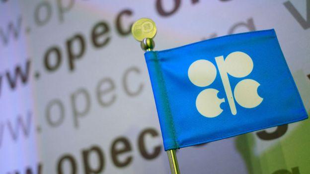 Bandera con logo de la OPEC.