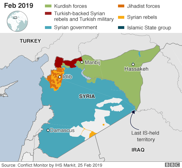 Map showing control of Syria (25 February 2019)