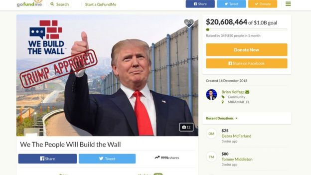 A campaign to raise money to hand over the Trump Administration for a border wall was deemed not feasible by GoFundMe