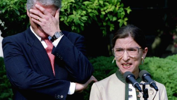 Bill Clinton y Ruth Bader Ginsburg en 1993.