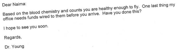 Email from Robert O Young to Naima Houder-Mohammed