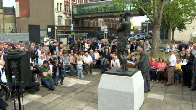 Crowds of people gathered for the unveiling ceremony on Thursday