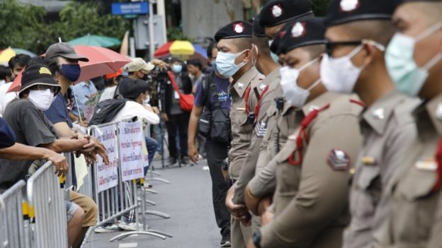 Thai police stand guard during an anti-government protest at the Democracy Monument in Bangkok, Thailand, 16 August 2020