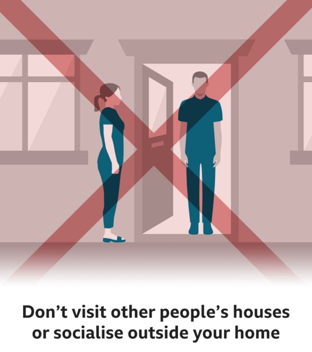 Don't visit other people's houses or socialise outside your home