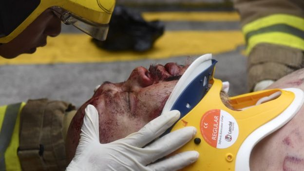 Injured man in Hong Kong, 6 October