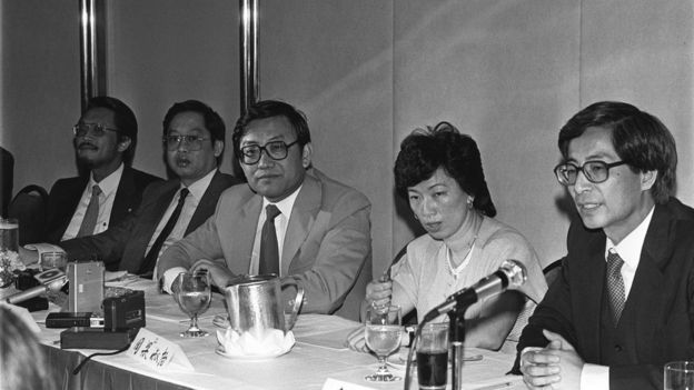 picture shows members of the delegation talking to the press. From left: Dr Philip Kwok, Chairman of the Wing On Group; Mr Stephen Cheong, Mr Allen Lee Peng-fei and Ms Selina Chow Liang Shuk-yee, the three Legislative Councillors; and Mr Martin Lee Chu-ming, the former Chairman of the Bar Association. 22MAY83 (Photo by Chan Kiu/South China Morning Post via Getty Images)