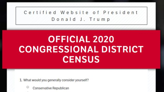 "A screenshot from the Donald Trump website reading ""Official 2020 Congressional District Census"""
