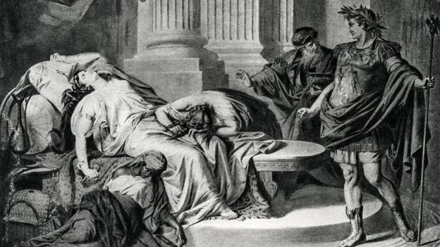 Ilustración de 1894 que muestra a Cleopatra muerta, con Augusto a sus pies.