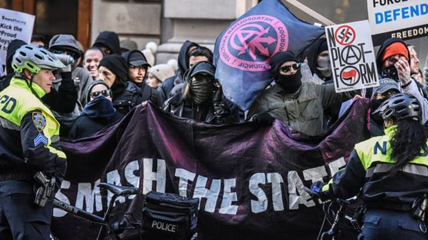 Protesters from various anti-fascist groups rally in New York