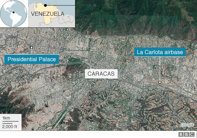 A map showing locations of the presidential palace and airbase in Caracas