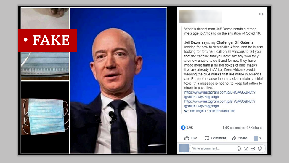 Screen grab of fake post about Jeff Bezos of Amazon