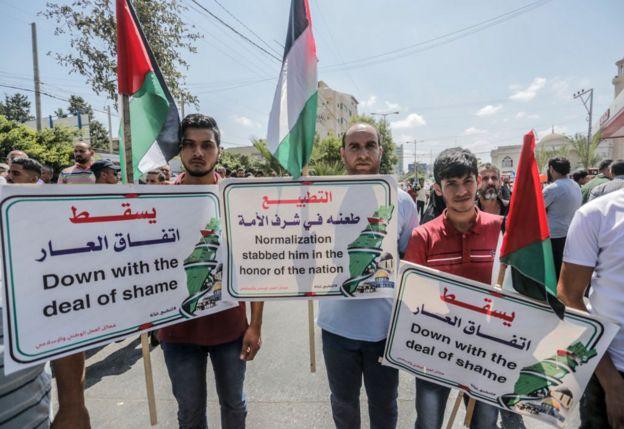 مظاهرة في قطاع غزة ضد تطبيع الإمارات علاقتها مع اسرائيل