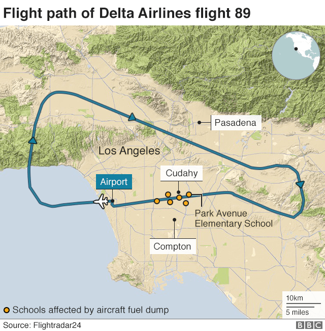 Map: Flight path of Delta Airlines flight 89