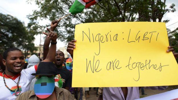 Manifestación gay en Nigeria.