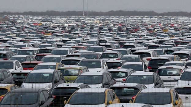 Hundreds of new cars parked up for import and export at Grimsby Docks