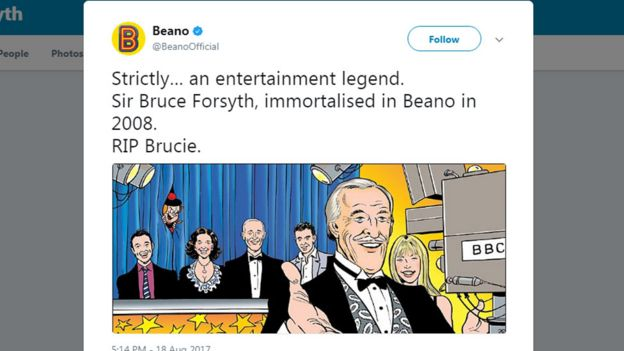 Strictly… an entertainment legend. Sir Bruce Forsyth, immortalised in Beano in 2008. RIP Brucie.
