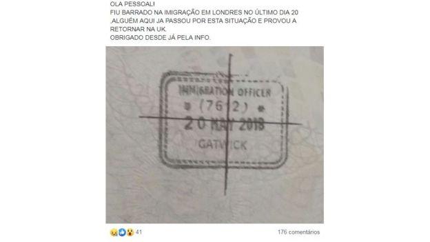 Imagem de passaporte carimbado de pessoa barrada em Londres