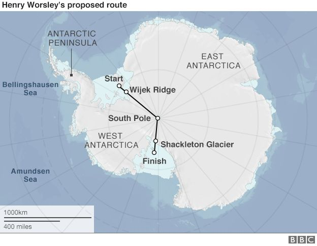 Map showing route of Henry Worsley's expedition in Antarctica