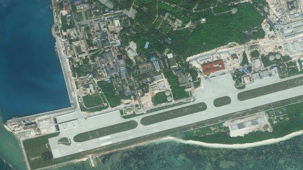 Hình ảnh vệ tinh năm 2016 chụp đảo Phú Lâm trên Biển Đông đã bị Trung Quốc kiểm soát từ năm 1956