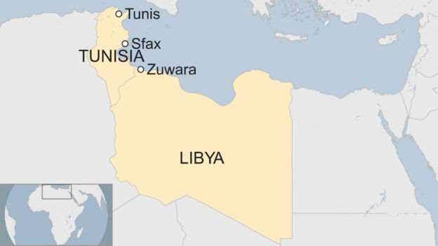 A map showing Libya, Tunisia, and the locations of the cities of Tunis, Sfax, and Zuwarah