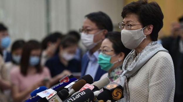 Bà Carrie Lam, đặc khu trưởng Hong Kong phát biểu trong cuộc họp ngắn vào ngày 3 tháng 6 năm 2020 về luật an ninh quốc gia.