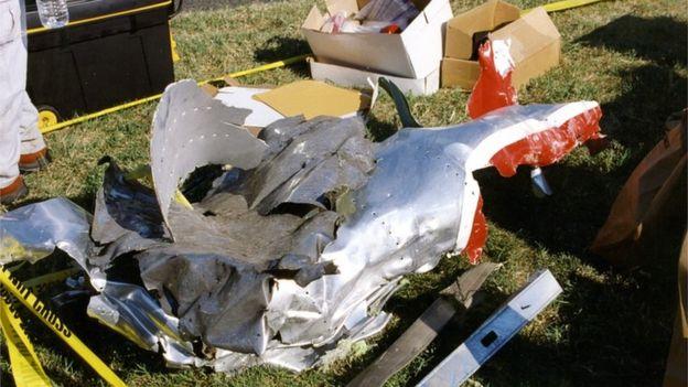 حطام الطائرة التي ضربت البنتاغون