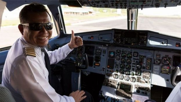 A pilot for a commercial airline